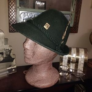 Other - VINTAGE SWISS GREEN 100% WOOL FEDORA HAT
